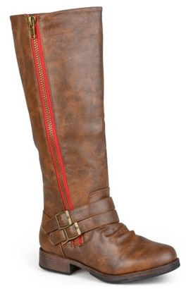 Brinley Co. Womens Knee-High Side-Zipper Buckle Riding Boot