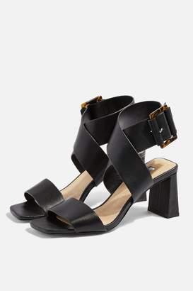 c7a0ceb44c3 Topshop Womens Natalia Black Buckle Sandals - Black