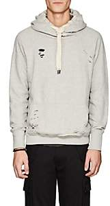 NSF Men's Distressed Cotton French Terry Hoodie-Light Gray Size S