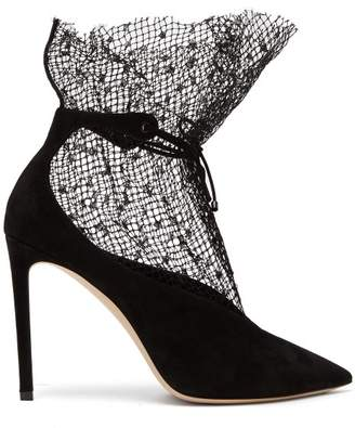 Jimmy Choo Leanne Mesh Trim Suede Pumps - Womens - Black