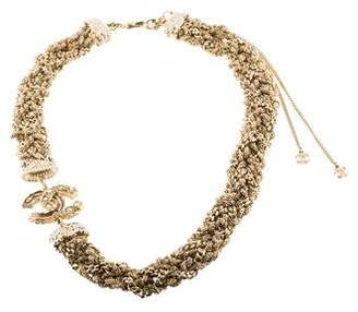 Chanel Pearl & Crystal CC Woven Chain Collar Necklace