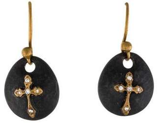 Sara Weinstock Diamond Maltese Cross Drop Earrings