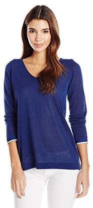 NYDJ Women's Mixed Media V-Neck Sweater with Overlapped Back