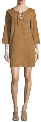 Joie Camarillo Suede Lace-Up Shift Dress