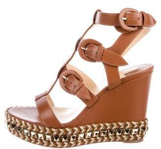 Christian Louboutin Leather Studded Wedges