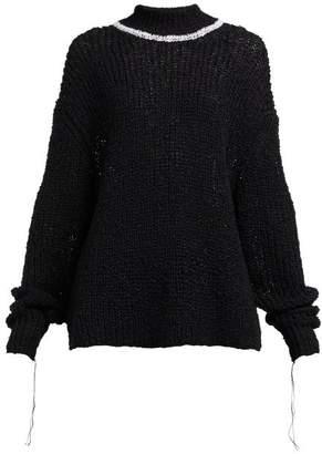 Jil Sander High Neck Cotton Blend Sweater - Womens - Black Multi