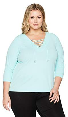 Calvin Klein Women's Plus Size Flare Sleeve W/Pipng