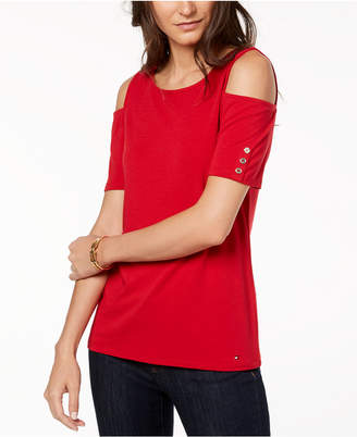 Tommy Hilfiger Cold-Shoulder T-Shirt, Created for Macy's
