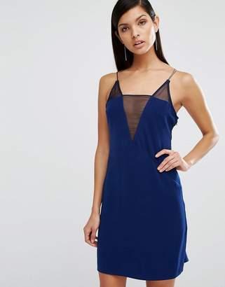 AQ AQ AQ/AQ Montana Deep V Mesh Mini Dress $188 thestylecure.com
