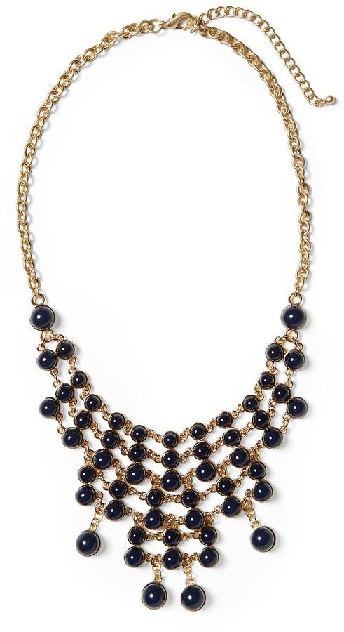 Pim + Larkin Navy Cabochon Mesh Necklace