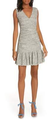 Rebecca Taylor Sleeveless Tweed Ruffle Hem Sheath Dress