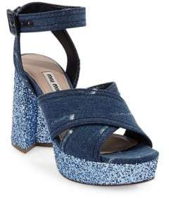 Miu Miu Crisscross Denim Platform Sandals