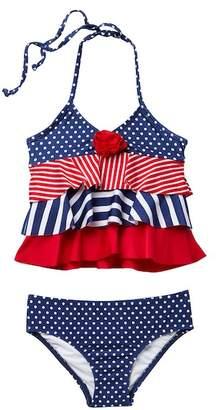 Love U Lots America Flower Ruffle Tankini Set (Toddler, Little Girls, & Big Girls)