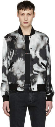 Saint Laurent Grey and Black Tie-Dye Bomber Jacket