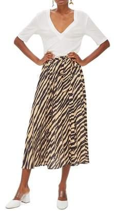 Topshop Zebra Print Pleated Midi Wrap Skirt