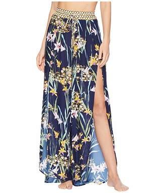 Trina Turk Fiji Floral Mix Split-Leg Beach Pant Cover-Up