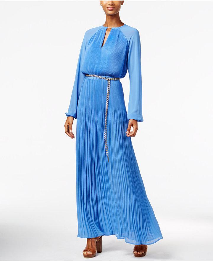 MICHAEL Michael Kors Pleated Belted Maxi Dress
