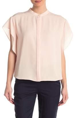 DKNY Mandarin Collar Flutter Sleeve Blouse