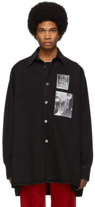 Raf Simons Black Denim Oversized Patches Shirt