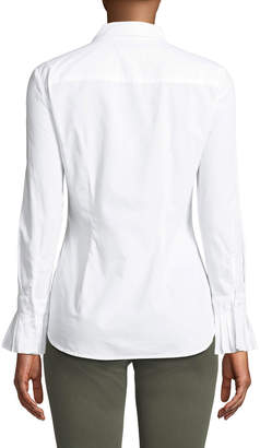Tahari Denim Button-Down Pleated-Cuff Cotton Shirt