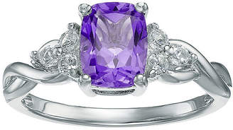 FINE JEWELRY Genuine Amethyst and White Topaz 10K White Gold Cushion-Cut Twist Ring