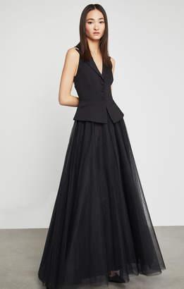 BCBGMAXAZRIA Sleeveless Tuxedo Peplum Gown