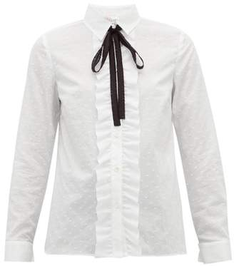 RED Valentino Ruffled Front Fil Coupe Cotton Shirt - Womens - White