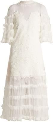 Jonathan Simkhai Contrast-panel tiered lace dress