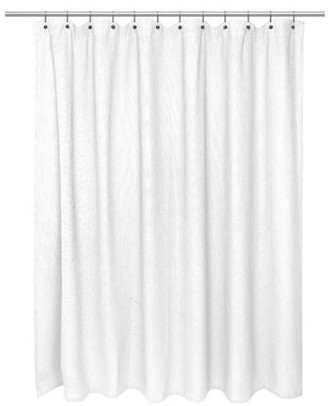 Carnation Home Fashions Standard Size 100% Cotton Waffle Weave Shower Curtain, white.