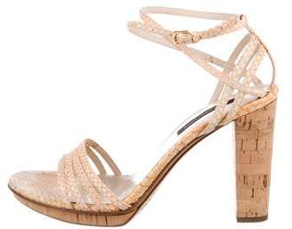 Sergio Rossi Snakeskin Multistrap Sandals w/ Tags