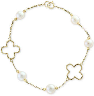 Effy Pearl by White Cultured Freshwater Pearl (6mm) Flower Bracelet in 14k Gold