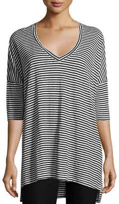 b6ed9942c6b02 Eileen Fisher Plus Size Striped Organic Linen Jersey V-Neck Tunic