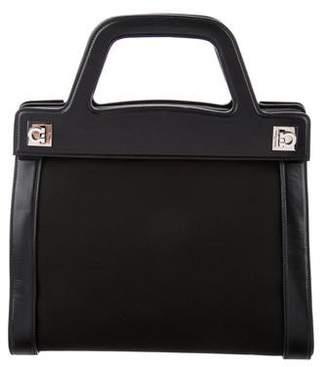 Salvatore Ferragamo Canvas Leather-Trimmed Handle Bag