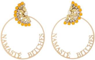 Anton Heunis gold metallic namaste swarovski crystal hoop earrings
