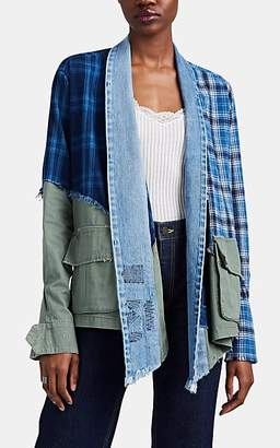Greg Lauren Women's Colorblocked Patchwork Kimono Jacket - Blue