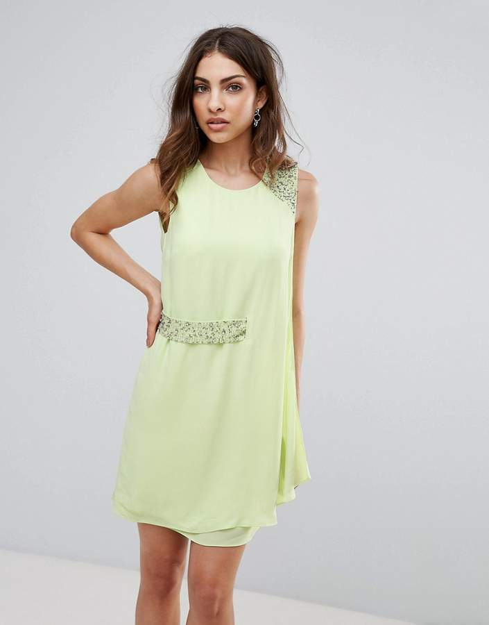 French Connection Cecile Drape Embellished Trim Dress