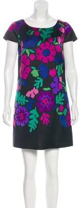 Tibi Abstract Floral Print Mini Dress