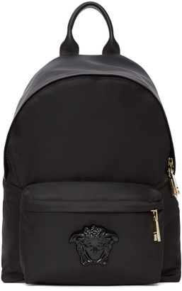 Versace Black Nylon Medusa Backpack $895 thestylecure.com