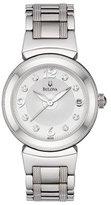 Bulova ブローバWomen 's 96p105 Diamond Accented Dialブレスレットホワイトダイヤル時計