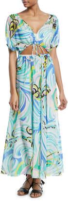 Emilio Pucci Baia Printed Tie-Front Maxi Dress