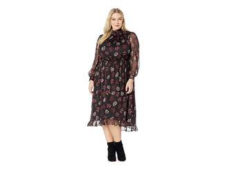 Vince Camuto Specialty Size Plus Size Long Sleeve Regal Stamp Floral Maxi Dress