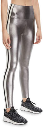 Norma Kamali Metallic Side-Stripe Active Leggings