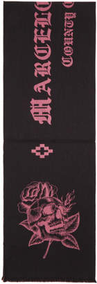 Marcelo Burlon County of Milan Black and Pink Skull Scarf