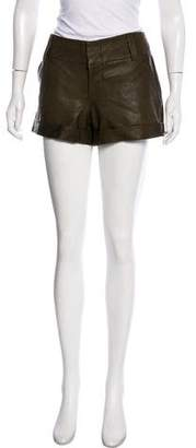 Alice + Olivia Leather Mid-Rise Mini Short