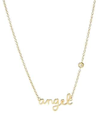 Sydney Evan Syd by 14K Yellow Gold Plated Sterling Silver Diamond 'Angel' Pendant Necklace - 0.015 ctw