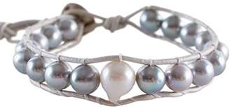 Chan Luu Womens Grey Pearl Bracelet on Grey Leather