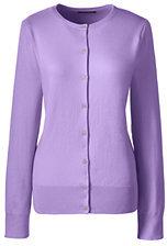 Lands' End Women's Supima Cotton Cardigan Sweater-Cherry Jam Plaid