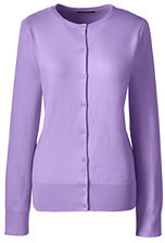 Lands' End Women's Tall Supima Cotton Cardigan Sweater-Gemstone Teal $59 thestylecure.com
