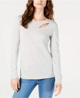 INC International Concepts I.n.c. Long-Sleeve Cutout T-Shirt
