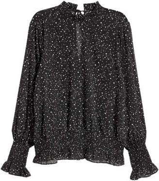 H&M Crinkled Chiffon Blouse - Black